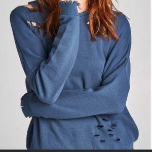 Blue Distressed sweatshirt